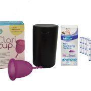 Combo Cốc nguyệt san Claricup™ màu hồng và Viên tiệt trùng Milton mini hộp 50 viên