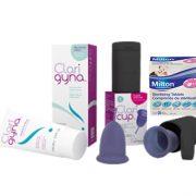 Combo Cốc nguyệt san Claricup™, dung dịch vệ sinh Clarigyna và Viên tiệt trùng Milton hộp 28 viên
