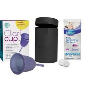 Combo cốc nguyệt san Claricup™ màu tím và Viên tiệt trùng Milton mini hộp 50 viên